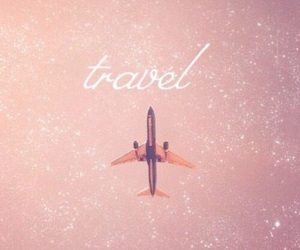 travel, pink, and plane image