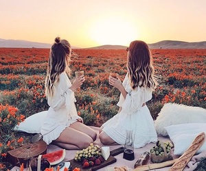 flowers, picnic, and sunset image