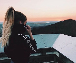 hair, mountains, and sky image