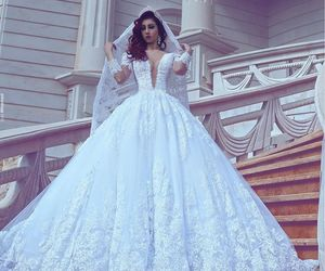 wedding dress, bride, and veil image
