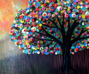art, tree, and buttons image