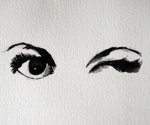 black, ink drawing, and eyes image
