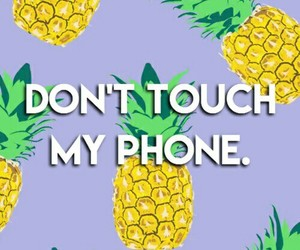 pineapple, phone, and don't touch my phone image