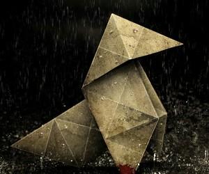 origami, rain, and heavy rain image