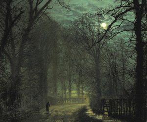 night, art, and forest image