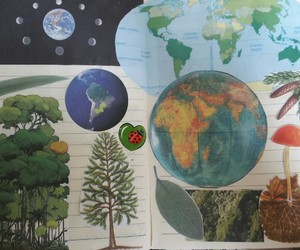 Collage, green, and journal image
