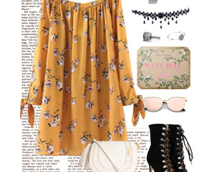 flowers, outfit, and Polyvore image