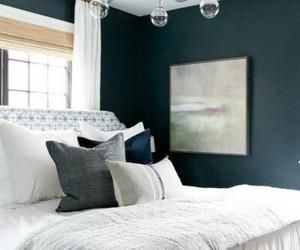 bedroom, home decor, and dark walls image