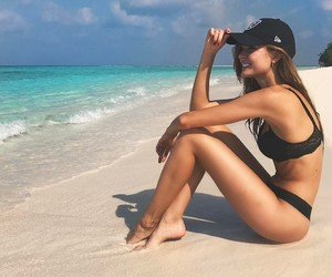 beach, josephine skriver, and summer image