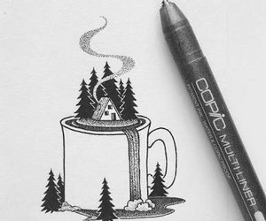 drawing, art, and cup image