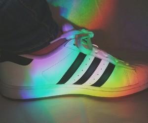 adidas, rainbow, and light image