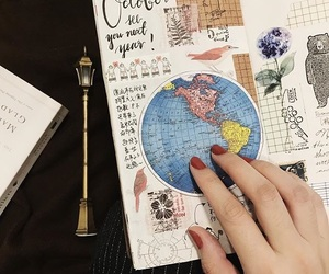 book, girl, and maps image