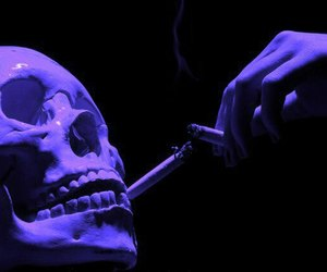 skull, cigarette, and grunge image