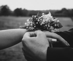 black and white, flower, and hand image