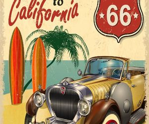 beach, california, and poster image