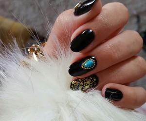 acrylic, nails, and black image
