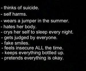 depressed, sad, and self harm image