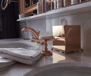 bathroom, gold, and luxury image