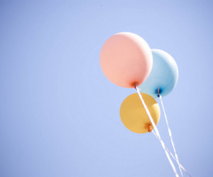 balloons, blue, and sky image