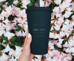 drinks, flowers, and starbucks image