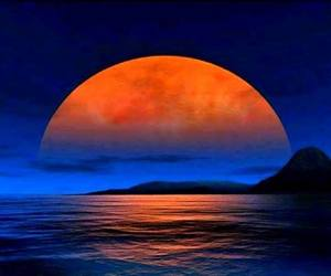 sunset, moon, and orange image