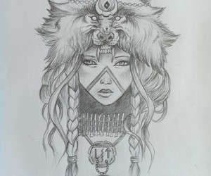 dessin, fille, and tribal image