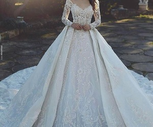 dress, wedding dress, and beauty image