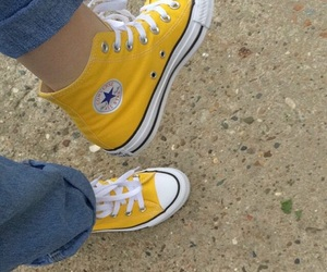 converse, yellow, and fashion image