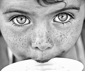 eyes, black and white, and freckles image