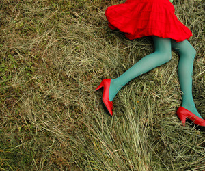 red, shoes, and skirt image