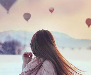 girl, balloons, and hair image