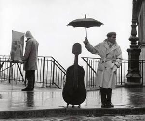 rain, music, and black and white image