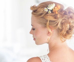 blonde, blonde hair, and flowers image