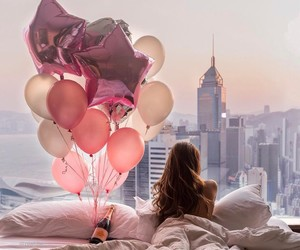 balloons, girl, and view image