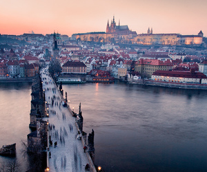 city, prague, and bridge image
