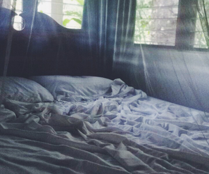 bed, peaceful, and pillow image