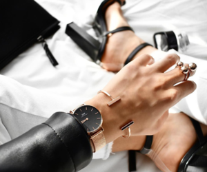 jewelry, watch, and black image