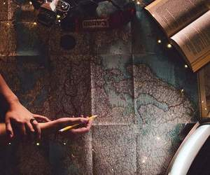 books, map, and world image