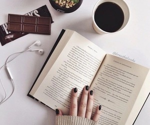 book, coffee, and chocolate image