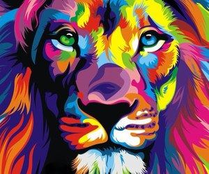 art, colorful, and lion image