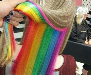 hair, rainbow, and beauty image