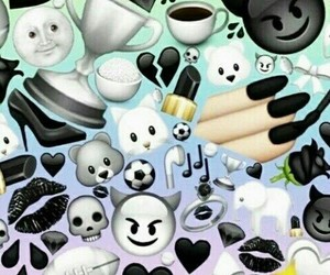 black, emoji, and emojis image