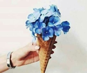 flowers, blue, and icecream image