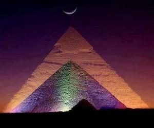 egypt, pyramid, and night image