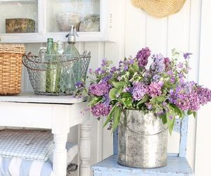 flowers, lilacs, and porch image