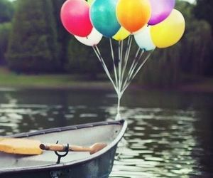 balloons, boat, and colors image