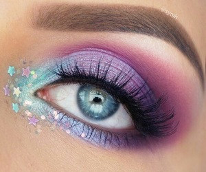 makeup, eye, and stars image