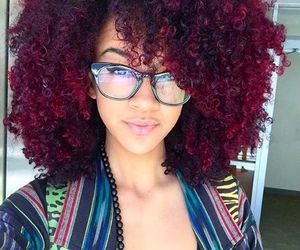 hair, curly hair, and red image