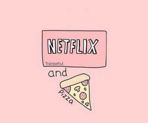 netflix, pizza, and wallpaper image