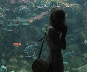 girl, fish, and aquarium image
